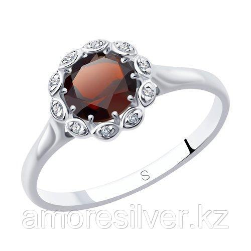 """Кольцо SOKOLOV серебро с родием, гранат фианит , """"halo"""" 92011638 размеры - 18,5"""