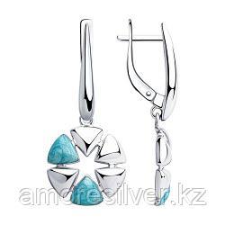 Серьги SOKOLOV серебро с родием, эмаль, флора 94023733