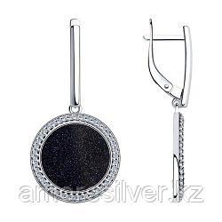 Серьги SOKOLOV серебро с родием, авантюриновое стекло фианит , круг 94023582