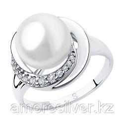 Кольцо SOKOLOV серебро с родием, фианит  жемчуг синт. 94012923 размеры - 16,5 19,5