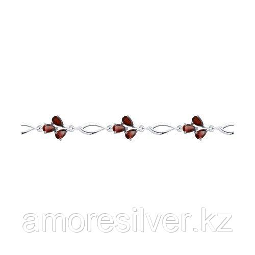 Браслет SOKOLOV серебро с родием, гранат 92050122 размеры - 18