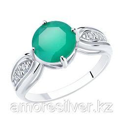 """Кольцо SOKOLOV серебро с родием, агат зеленый фианит, """"halo"""" 94-310-00408-1 размеры - 16,5"""