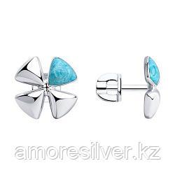 Серьги SOKOLOV серебро с родием, эмаль, флора 94023732