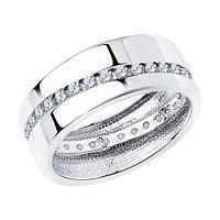 Обручальное Кольцо SOKOLOV серебро с родием, фианит 94110027 размеры - 15,5 16 16,5 17 17,5 18 18,5 19,5 20,5