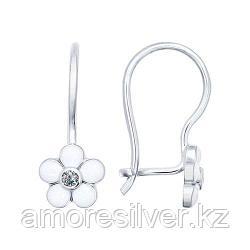 Серьги SOKOLOV серебро с родием, эмаль фианит , флора 94021966