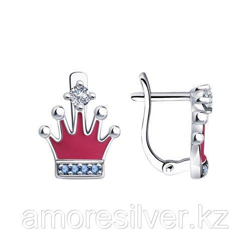 Серьги SOKOLOV серебро с родием, эмаль фианит , корона 94023545