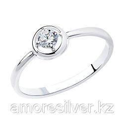 Кольцо SOKOLOV серебро с родием, фианит  94011569 размеры - 15,5 16 16,5 17 17,5