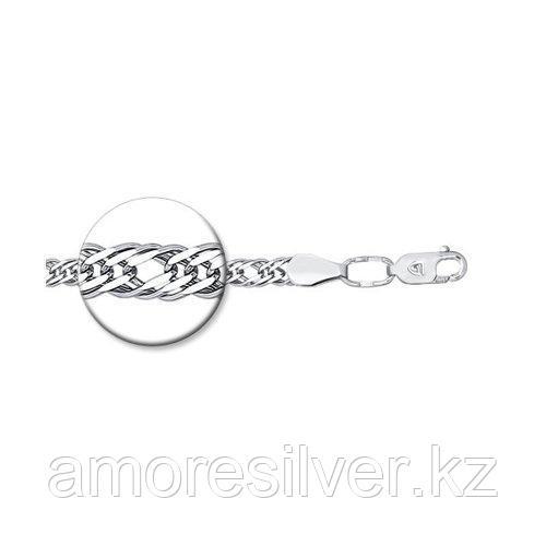Браслет SOKOLOV серебро с родием, без вставок, ромб тройной 965220502 размеры - 18 19