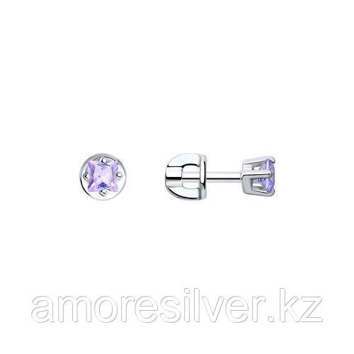 Серьги SOKOLOV серебро с родием, фианит  94020127