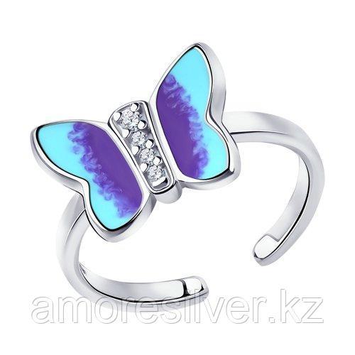 Кольцо SOKOLOV серебро с родием, эмаль фианит  94013120 размеры - 15 16