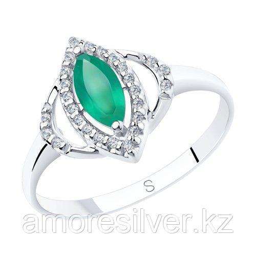 Кольцо SOKOLOV серебро с родием, агат зеленый фианит  92011842 размеры - 16 16,5 17 17,5 18,5 19