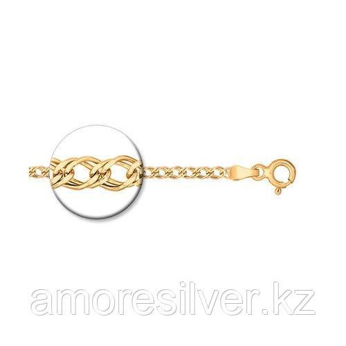 Браслет SOKOLOV серебро с позолотой, без вставок, ромб двойной 985040402 размеры - 17 18
