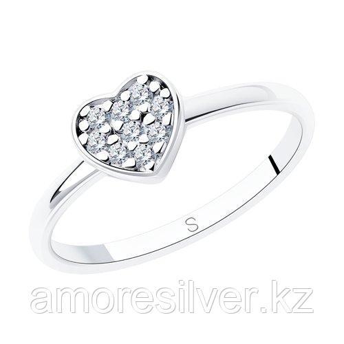 Кольцо SOKOLOV серебро с родием, фианит , love 94012708 размеры - 15 16