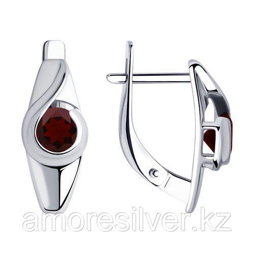 Серьги SOKOLOV серебро с родием, гранат 92021999