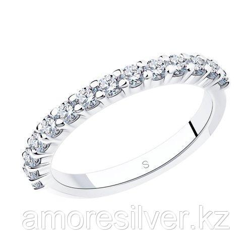 Кольцо SOKOLOV серебро с родием, фианит , дорожка 94012183 размеры - 16 16,5 17 17,5 18
