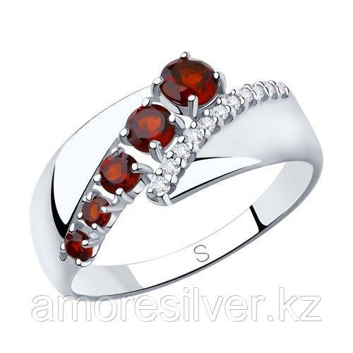 Кольцо SOKOLOV серебро с родием, гранат фианит  92011815 размеры - 18