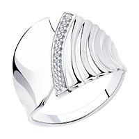 Кольцо SOKOLOV серебро с родием, фианит 94013222 размеры - 17 17,5 18 18,5 19 19,5 20,5