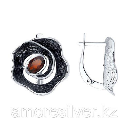 Серьги SOKOLOV серебро с родием, гранат 92022296