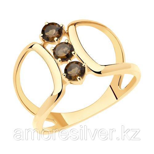 Кольцо SOKOLOV серебро с позолотой, раух-топаз 92011925 размеры - 16,5 17 18 19