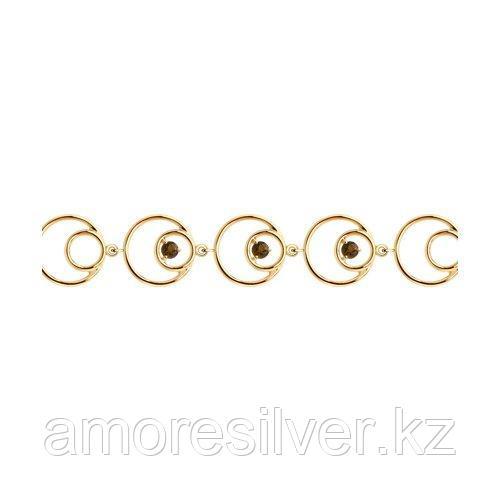 Браслет SOKOLOV серебро с позолотой, раух-топаз 92050131 размеры - 17 18