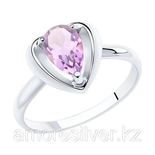 Кольцо DIAMANT ( SOKOLOV ) серебро с родием, аметист 94-310-00761-2 размеры - 16,5 18 19