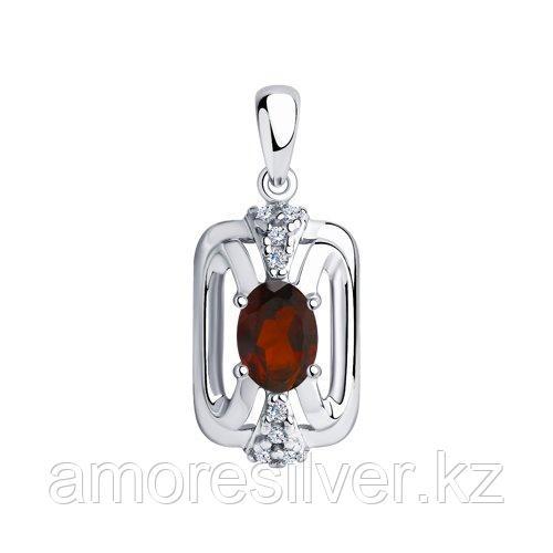 Подвеска DIAMANT ( SOKOLOV ) серебро с родием, гранат фианит  94-330-00688-3