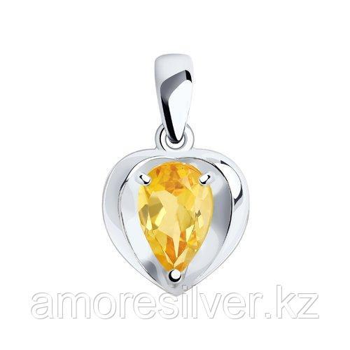 Подвеска DIAMANT ( SOKOLOV ) серебро с родием, цитрин 94-330-00761-3