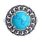 Кольцо DIAMANT ( SOKOLOV ) из черненного серебра, бирюза синт. 95-310-00856-1 размеры - 19 20, фото 2
