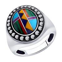 Кольцо DIAMANT ( SOKOLOV ) из черненного серебра, бирюза синт. 95-310-00848-1 размеры - 20