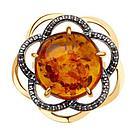 Кольцо DIAMANT ( SOKOLOV ) серебро с позолотой, янтарь пресс. фианит  93-310-00828-1 размеры - 17, фото 2