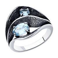 Кольцо SOKOLOV из черненного серебра, топаз 92011980 размеры - 16,5