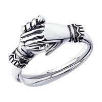 Кольцо SOKOLOV из черненного серебра, фианит 95010155 размеры - 16,5 17 17,5 18 18,5 19 19,5