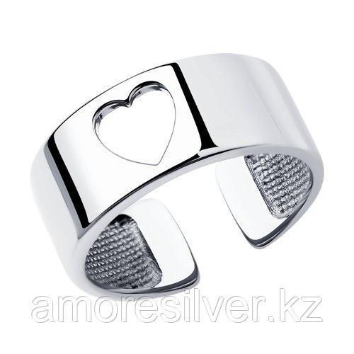 Кольцо SOKOLOV серебро с родием, без вставок 94013309 размеры - 16