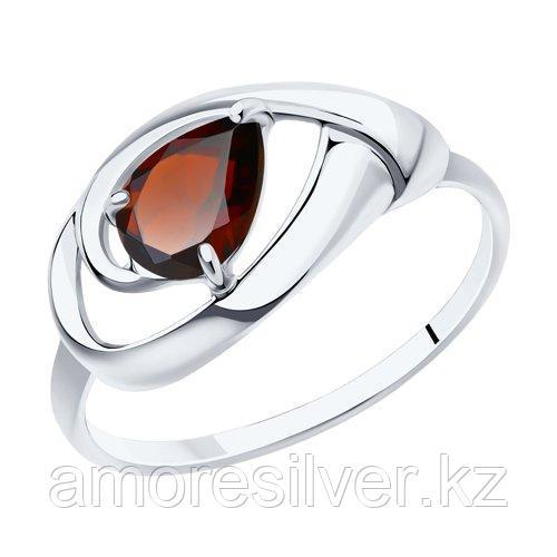 Кольцо DIAMANT ( SOKOLOV ) серебро с родием, гранат 94-310-00594-2 размеры - 16 16,5 17 17,5 18