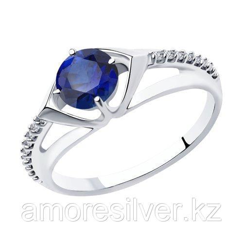 Кольцо DIAMANT ( SOKOLOV ) серебро с родием, корунд синт. фианит  94-310-00356-1 размеры - 16,5 17