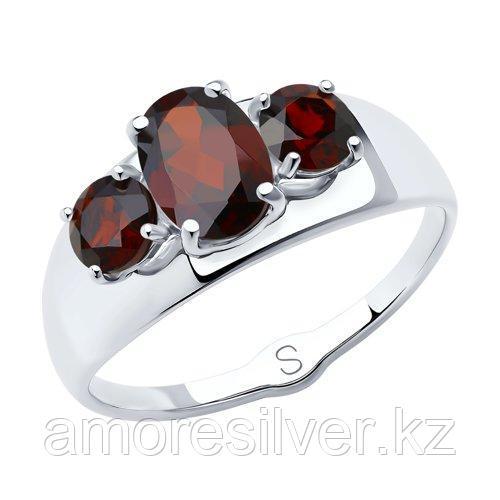 Кольцо DIAMANT ( SOKOLOV ) серебро с родием, гранат 94-310-00556-2 размеры - 17