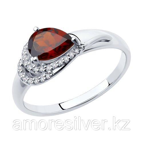 Кольцо DIAMANT ( SOKOLOV ) серебро с родием, гранат фианит  94-310-00548-2 размеры - 16 16,5 17 18