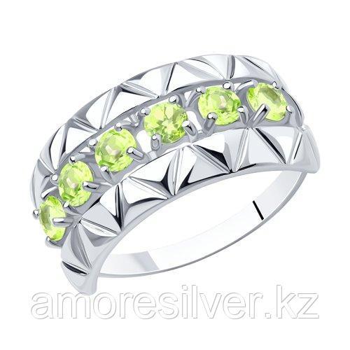 Кольцо DIAMANT ( SOKOLOV ) серебро с родием, хризолит 94-310-00800-4 размеры - 16,5 17