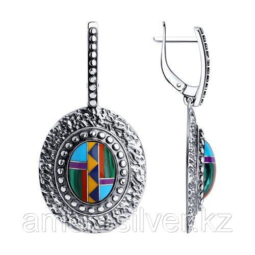Серьги DIAMANT ( SOKOLOV ) из черненного серебра, бирюза синт. 95-321-00834-1