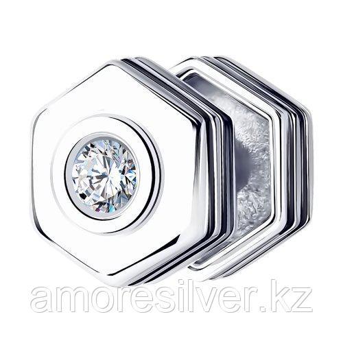 Серьги SOKOLOV серебро с родием, фианит  эмаль 94170150