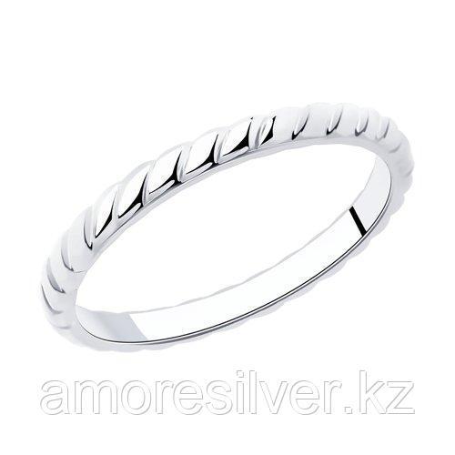 Кольцо SOKOLOV серебро с родием, без вставок, фантазия 94013244 размеры - 14 15 16,5 17 17,5 18 18,5