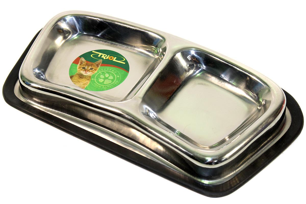 Миска Triol металлическая двойная с резиновым ободком