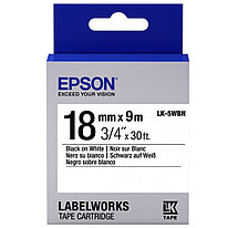Лента Epson C53S655006 LK5WBN Стандартная лента 18мм, Бел./Черн., 9м