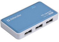 Разветвитель USB Defender Quadro Power USB2.0-хаб, 4 порта, блок питания, 2A output