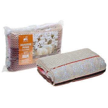 Одеяло стеганое Золотое руно 200х220 см легкое 200 гр/м, овечья шерсть, смесовый микс
