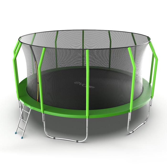 Батут EVO JUMP Cosmo, d=488 см, с внутренней защитной сеткой и лестницей, цвет зелёный - фото 2