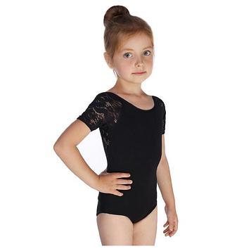 Купальник гимнастический Кружево 3 короткий рукав, размер 28, цвет чёрный