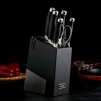 Набор кухонный Rut, 6 предметов: 5 ножей лезвие 10 см, 12,5 см, 20 см, 20 см, 20 см, ножницы, универсальный