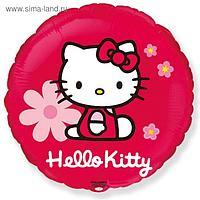 """Шар фольгированный 18"""" Hello Kitty """"Котёнок в цветах"""", круг, 1 шт., в упаковке, красный"""