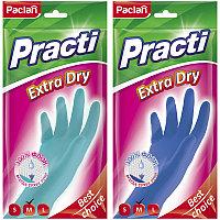 "Перчатки резиновые Paclan ""Practi Extra Dry"", M, цвет микс, пакет с европодвесом"